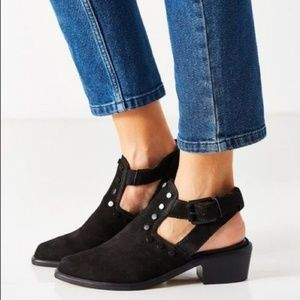 M4D3 Shoes - Black Distressed Studded Cutout Back Ankle Boots